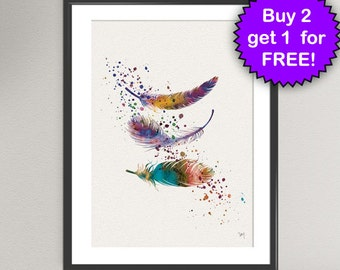 FEATHERS Watercolor Art Print Birthday Gift Bedroom Decor Inspiration Present Feather Home Wall Art Poster Wall Decor Art Home (Nº3)