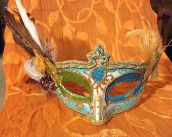 Blue Feathered Mask