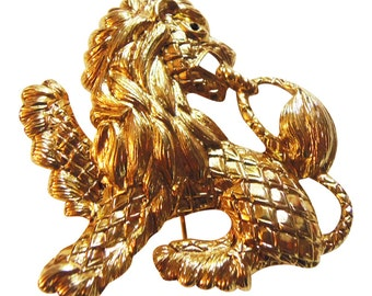 Brooch Joan Rivers Lion Figural Brooch Pin Big Bold Renaissance Revival Gold Tone Metal Retro Vintage 1990