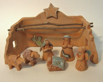 Sedona Southwest Nativity Set, Unique Creche Handmade of Terra Cotta Clay, by Arizona Artist Karlene Voepel