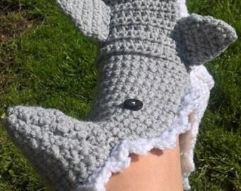 Crochet hungry shark slippers, crocheted shark,  Made to order