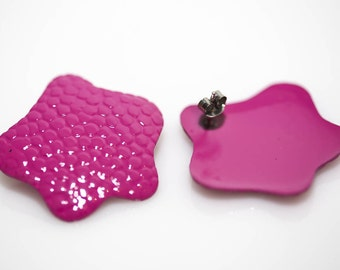 Pink Flower Enameled Earrings