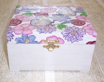 Hand Painted Wood Box with Hinged Lid, Wood Painted Box with Flowers and Butterflys, One of a Kind