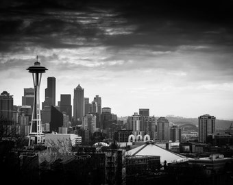 Dark Seattle Photography Black White Monochrome Color Cityscape Washington Big City Architecture Space Needle Landmark