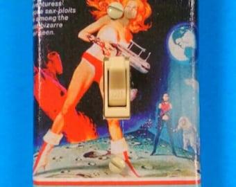 Decoupaged Barbarella Light Switchplate Cover, Decoupage, Handmade, Barbarella, SciFi, Science Fiction, Retro, Made By Mod.