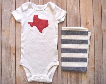 Onesie/Burp Cloth Set | Baby Girl | Texas appliqué Onesie | Burp Cloth | Red & Blue Print