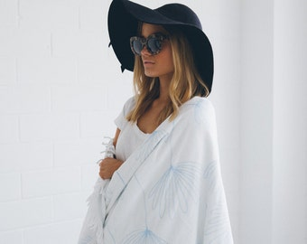 Round Beach Towel Daydreaming with White Fringe Thick Luxury Cotton, Velour for Comfort, Terry for Drying. Large 150cm Diameter