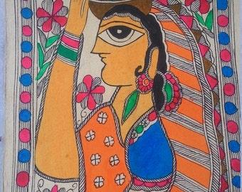 Sale!! USD 10 off!! Handmade Madhubani painting, handmade paper , boho/ chic/ hippie/ tribal/ folk/ Indian/ bright , READY to ship!!