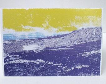 Whernside Yorkshire three peaks art card - landscape greetings card