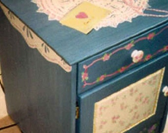 little girls night stand, hand painted kids furniture, flowers and lace night table, child's furniture