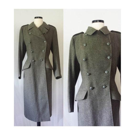 vtg des ann es 50 su dois militaire laine manteau trench coat. Black Bedroom Furniture Sets. Home Design Ideas