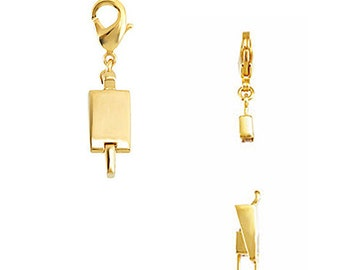 14k Gold Vermeil Demika® Magnetic Clasp Chain Converter with Lobster Clasp, Necklace Finding