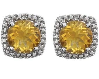 Sterling Silver 925 Genuine Citrine & Diamond Round Halo Style Stud Earrings November Birthstone 1.68 CTW