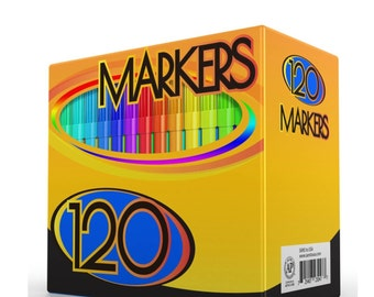 120 Colored Markers, Washable; Adult Coloring Book, Drawing Markers Pens; Fine Bullet Point Tips; 120 Unique Colors