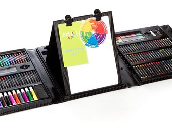 Kids 179 Piece Artist Box Set, Double Sided Trifold Easel Art Set; Paints, Pastels, Crayons, Pencils, Paper and More; With Carrying Case