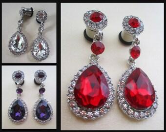 Glamorous Wedding EAR TUNNEL prom PLUG Earrings you pick gauge size color diamond rhinestones 8g, 6g, 4g, 2g, 0g aka 3mm, 4mm, 5mm, 6mm, 8mm