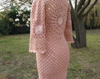 Flower crocheted pink soft wool dress