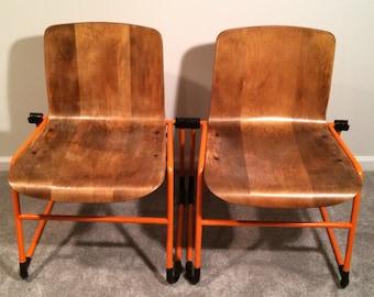J. Hayward Kinetics Mid-Century Modern Chairs Wrought Iron and Wood
