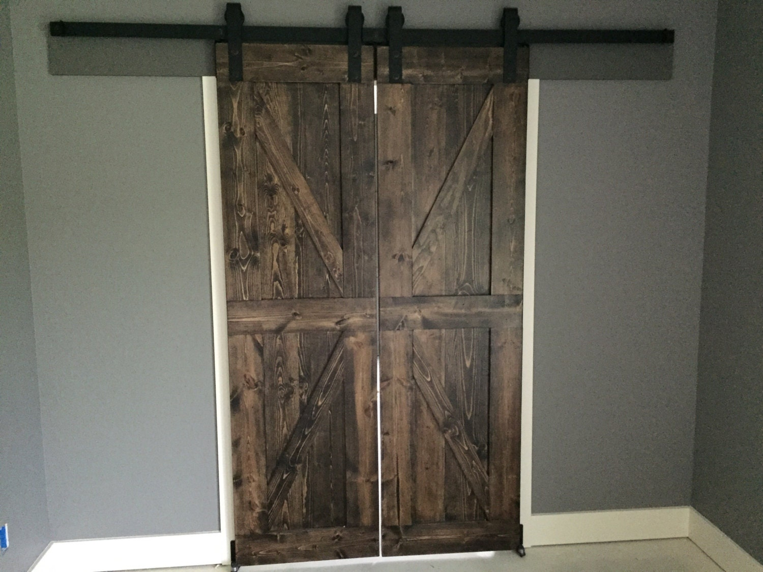 Custom farmhouse rustic sliding barn door made to order for Barn door pictures