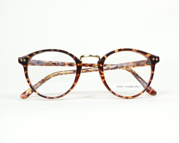 vintage glasses frames round tortoise shell eyeglasses unisex prescription eyewear horn rim metal