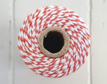 100mt roll 12ply ORANGE/WHITE Bakers Twine 100% cotton