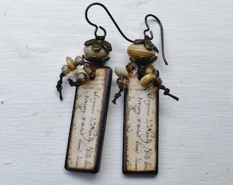Boho script decoupage earrings JLynnJewels - DayLilyStudio