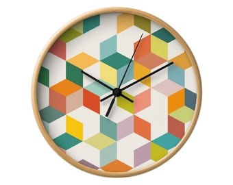 Geometric wall clock mid century design wall clock Mid century geometric wall clock retro wall clock retro clock teal and red triangles