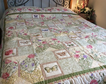 Butterfly queen bed quilt/double bed throw/quilted bed blanket/soft creams/greens/rose colors/handmade/summer bed quilt/