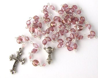 First Communion Rosary - Catholic Rosary Beads - Light Pink Unbreakable Wire Wrapped Five Decade Rosary - Girl's Rosary - Catholic gift