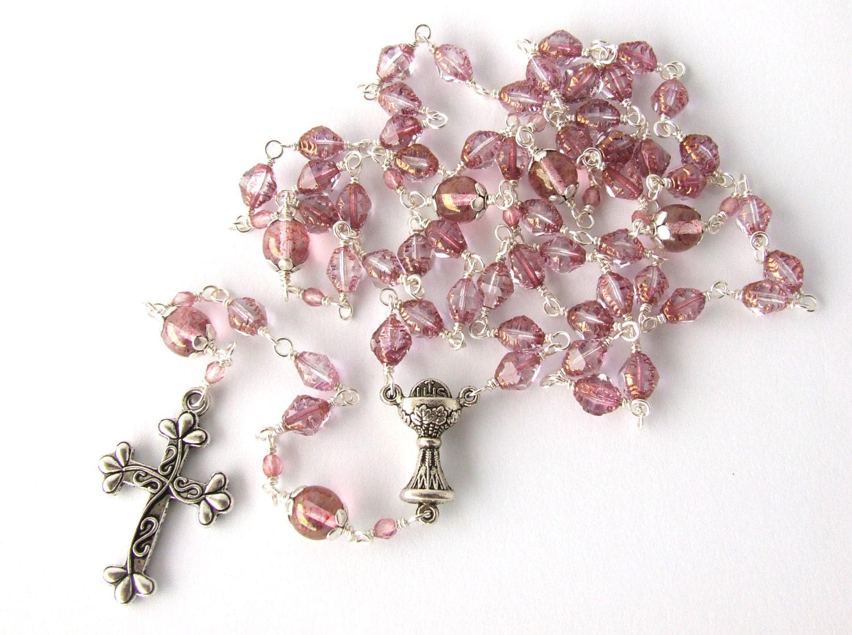 First Communion Rosary Catholic Rosary Beads Light Pink