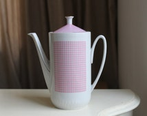 Soviet Vintage Coffee Pot with Lid, Retro Faience Coffee Pot Pink Gold Decor, Russian Retro Kitchen, Made in USSR Riga
