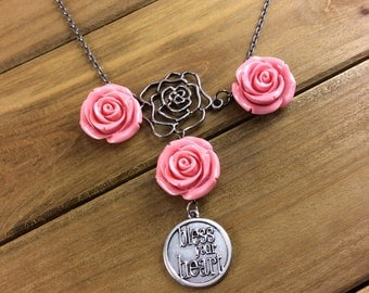 Statement Necklace with peach roses