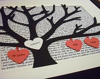Grandparent Gifts, Custom Song Lyric Art, Personalized 11X14 Unframed 3D Paper Tree Wedding Gift, Anniversary, Wedding Song Lyrics