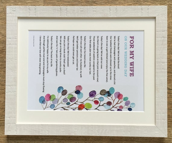 Romantic Poem For My Wife Husband On Our Wedding Day Unframed The Perfect Thoughtful Gift Your New Other Half