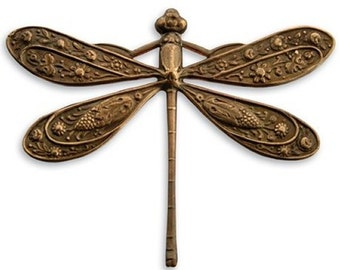 Vintaj Natural Brass Ornate Dragonfly Embellishment Charm Jewelry Finding Bug FN221
