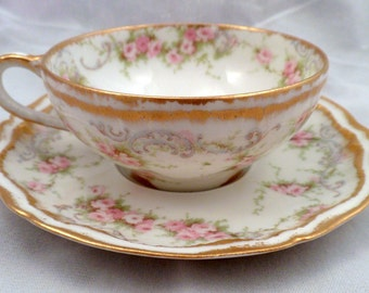Theodore Haviland Limoges Schleiger 340 Cup and Saucer, 4 Available, 4948