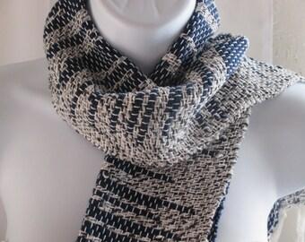 Handwoven blue/white cotton scarf, Navy scarf, Gift, Cotton scarf, Handmade woven scarves