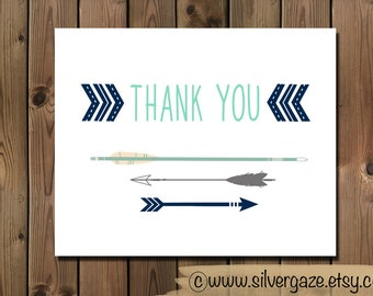 Blue Native Arrow thank you note card, _112