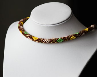 "Bead crochet necklace ""Rhombus"""