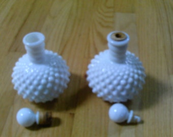Pair of White Milk glass Hobnail bottles with stoppers