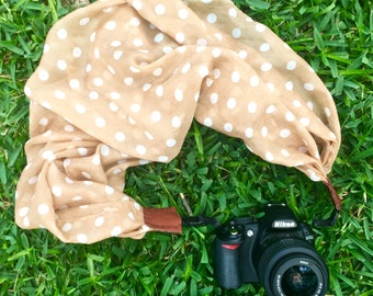 Polka dot scarf camera strap > tan || for Nikon, Canon, and DSLR photography