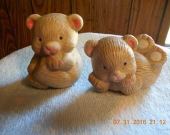 Pair of Porcelain Teddy Bear Figurines