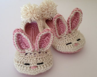 Womens crochet Bunny slippers. Easter Gift. Non-slip sole available.