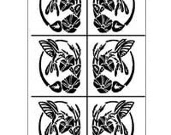 Hummingbird Stencil-Rub n Etch Glass Stencils-Glass Etching Stencils