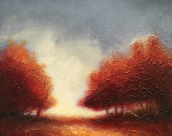 Fall Trees original textured acrylic landscape painting by Jane Palmer