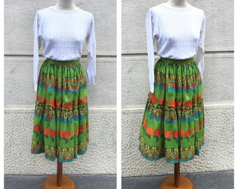 SALE -30% 50s Flared Silk SKirt - 50s Tailored Skirt - Vintage Peaches Print Skirt Size XS S