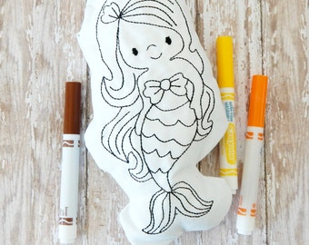 mermaid doll - mermaid stuffed doll - mermaid pillow - mermaid party favors- mermaid birthday gift - coloring pillow for kids -