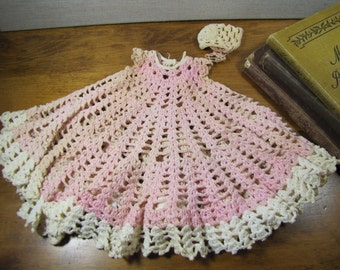 Vintage Crocheted Doll Dress and Cap