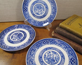 Blue Willow Pattern Saucers - Set of Three (3)