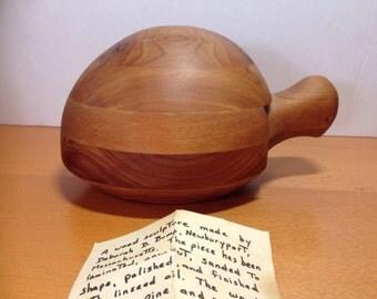 Deborah Bump Wood Turtle Sculpture with Hideaway Drawer 1978